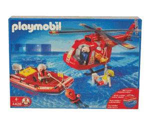 Playmobil - 4428 - pompiers - les sauveteurs helicoptere + bateau
