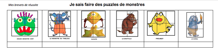 Puzzle le monstre du tableau